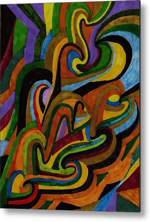 Abstract Metal Print featuring the drawing Ribbons Of Color by Brenda Adams