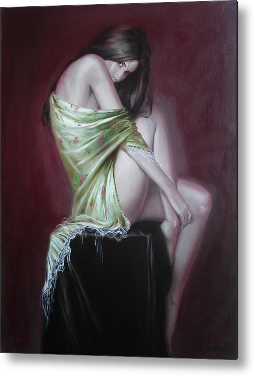Art Metal Print featuring the painting Russian Model by Sergey Ignatenko