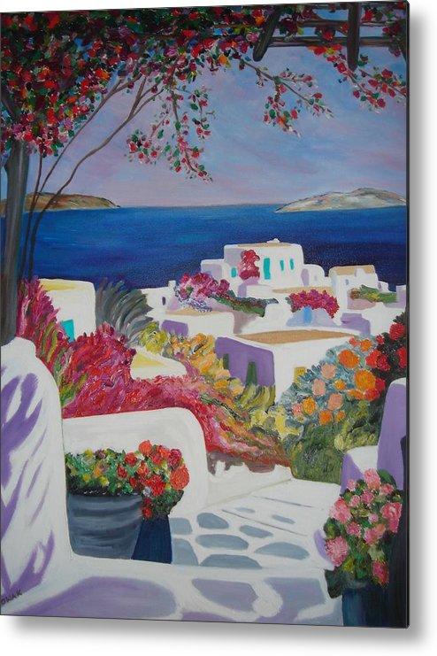 Greece Metal Print featuring the painting Santorini by Dorota Nowak