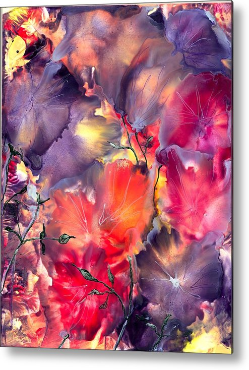 Abstract Metal Print featuring the painting Secret Language by Heather Hennick