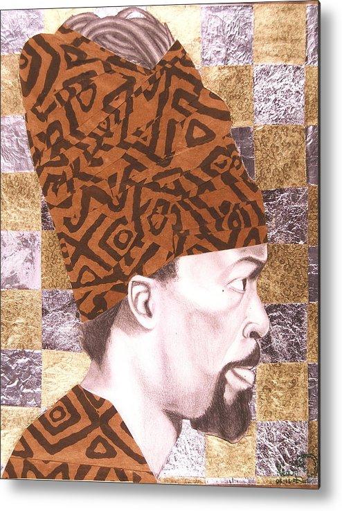 Maliksart Metal Print featuring the mixed media Self Portrait by Malik Seneferu