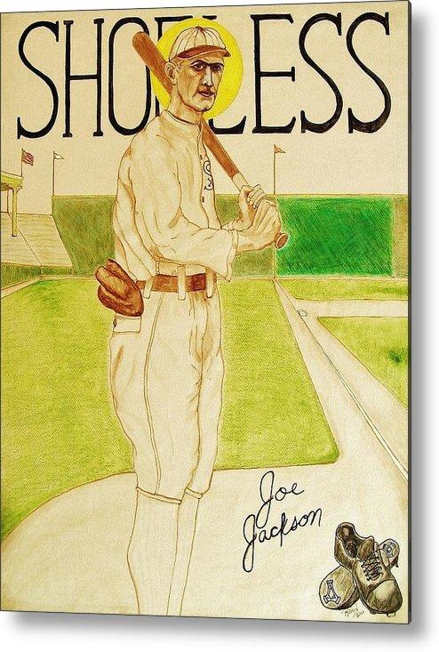Shoeless Metal Print featuring the painting Shoeless Joe Jackson by Rand Swift