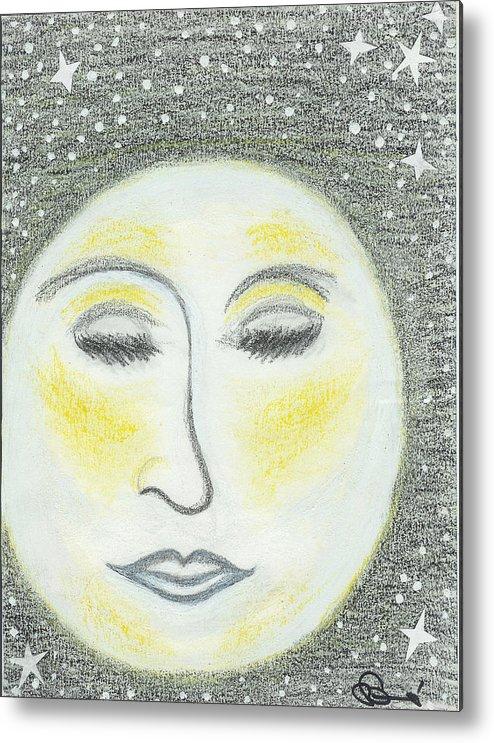 Moon Metal Print featuring the drawing Sleepy Moon by Ingrid Szabo