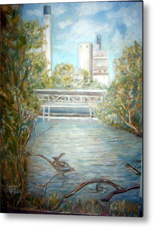 Landscape River Factory Ducks Metal Print featuring the painting Smokestack by Joseph Sandora Jr