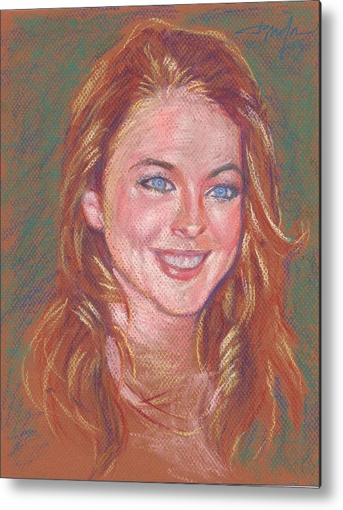 Portrait Metal Print featuring the painting Sonrisa Sutil by Horacio Prada