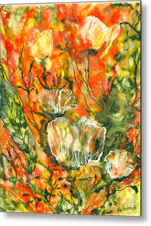 Abstract Metal Print featuring the painting Spirits Of Roses by Heather Hennick