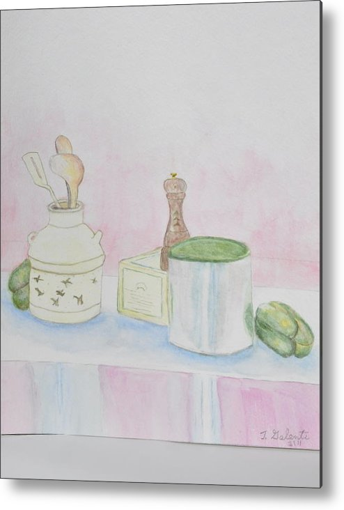 Kitchen Table Metal Print featuring the painting Still Life Kitchen Table by Jonathan Galente