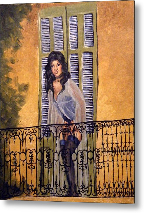 Balcony Metal Print featuring the painting The Balcony by Scarlett Royal