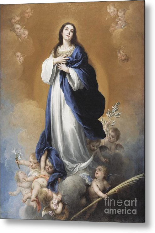 The Metal Print featuring the painting The Immaculate Conception by Bartolome Esteban Murillo