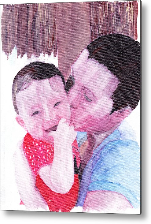 Family. Portrait Metal Print featuring the painting The Kiss by David Poyant
