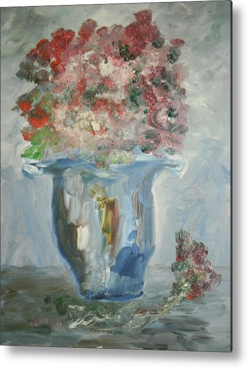Still Life Metal Print featuring the painting The Silver Swirl Vase by Edward Wolverton