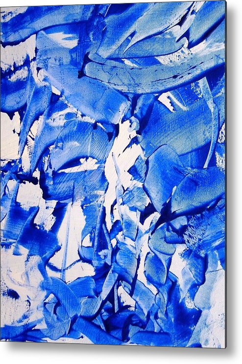 Blue Metal Print featuring the painting The Sky Is Falling by Bruce Combs - REACH BEYOND