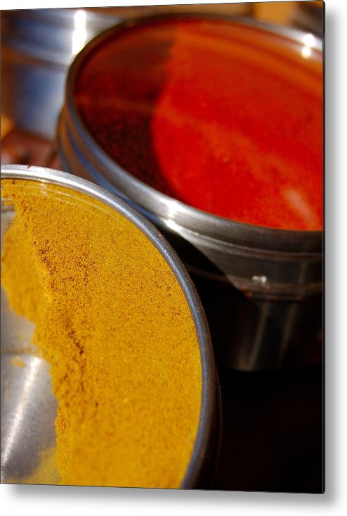 Food Metal Print featuring the photograph Tumeric And Cayanne Pepper by Heather S Huston