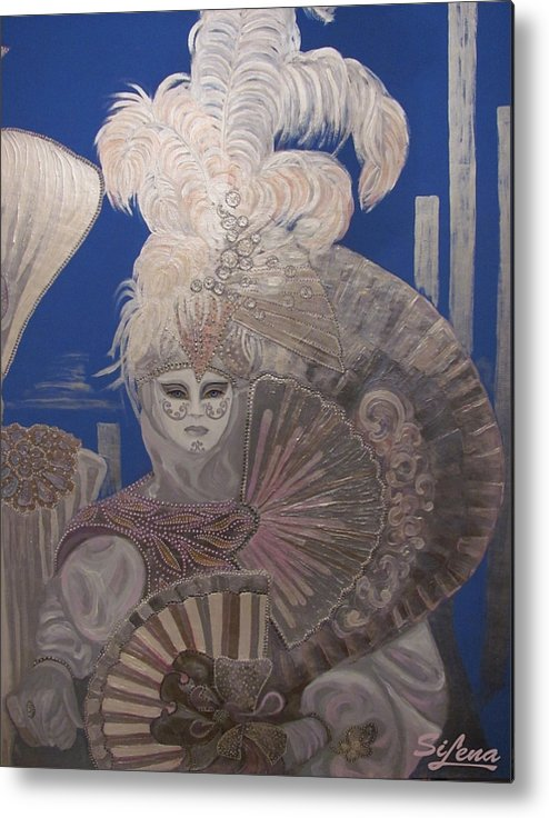 Art Canvas Prints Metal Print featuring the painting Two In The Silver Light by Elena Simonenko