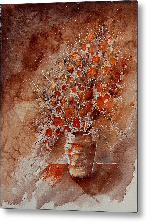 Poppies Metal Print featuring the painting Watercolor Autumn Bunch by Pol Ledent