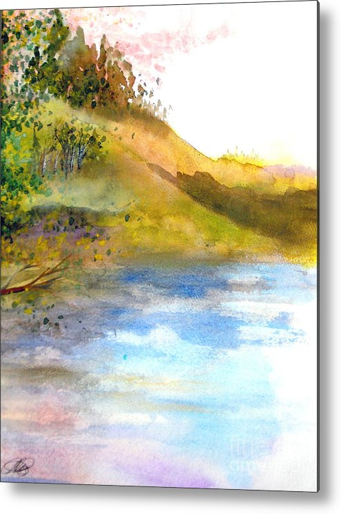 Landscape Metal Print featuring the painting Waters Edge by Vivian Mosley