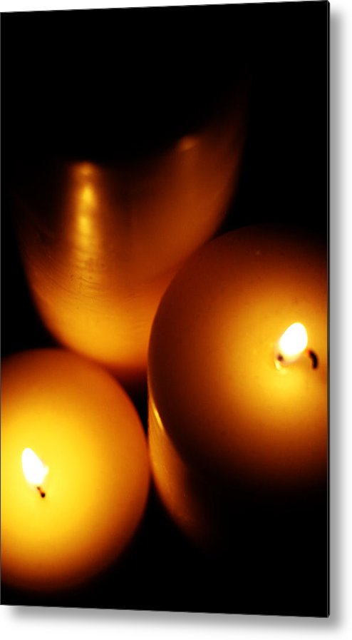 Candles Metal Print featuring the digital art Flames by Lounge Mode Productions Art