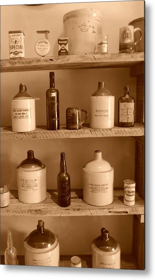Sepia Photographs Metal Print featuring the photograph Vintage Jugs by Dennis Hammer