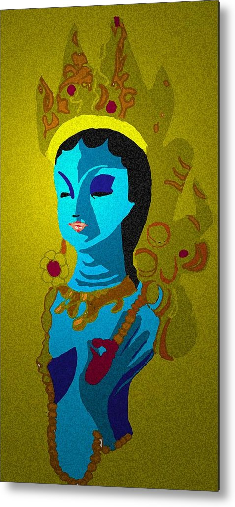 Hindu Goddess Metal Print featuring the drawing Lakashimi Gold by Jennifer Ott
