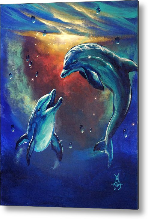 Dolphins Metal Print featuring the painting Happy Dolphins by Marco Antonio Aguilar