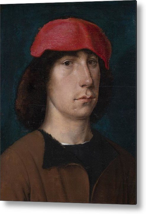 Young Metal Print featuring the painting A Young Man In A Red Cap by Michiel Sittow