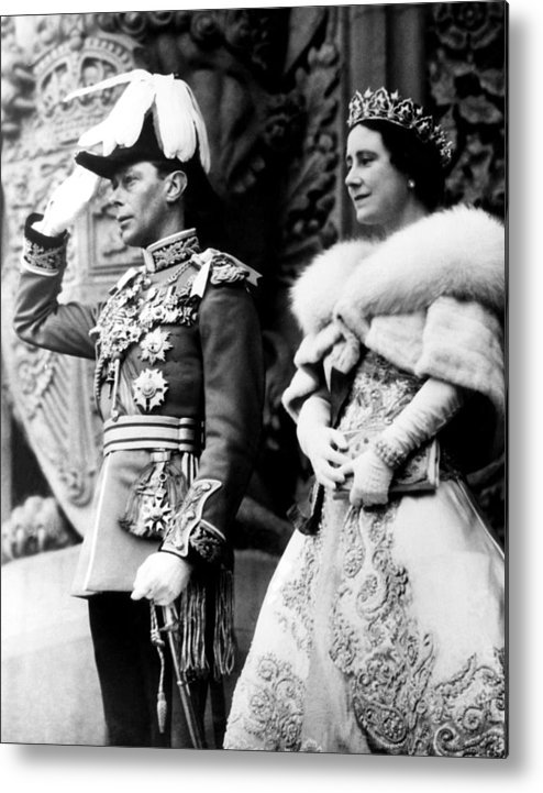 1930s Candid Metal Print featuring the photograph King George Vi, Queen Elizabeth by Everett
