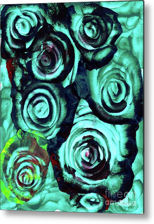 Painting Metal Print featuring the painting Roses 3 by Abu Artist