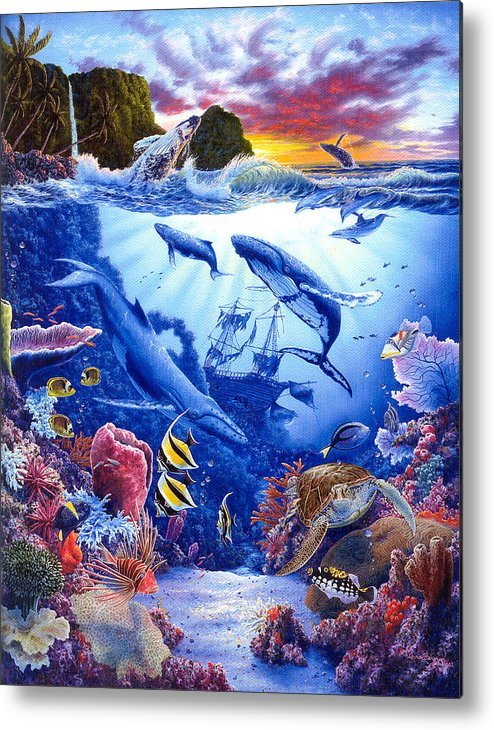 Dolphin Metal Print featuring the painting Enchanted Sea by Daniel Bergren
