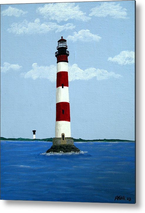 Lighthouse Paintings Metal Print featuring the painting Morris Island Light by Frederic Kohli