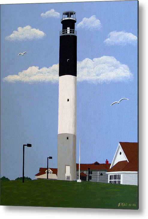 Lighthouse Paintings Metal Print featuring the painting Oak Island Lighthouse by Frederic Kohli