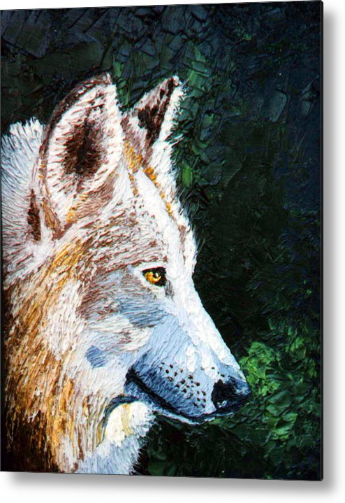 Timber Wolf Metal Print featuring the painting Timberwolf by Stan Hamilton
