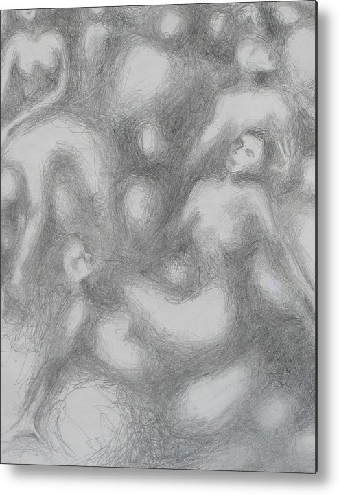 Women Metal Print featuring the drawing Untitled by Marat Essex