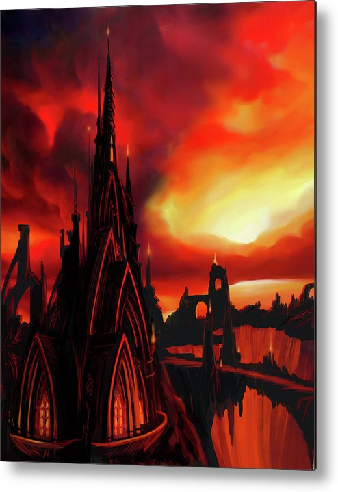 Castle Metal Print featuring the painting Volcano Castle by James Christopher Hill