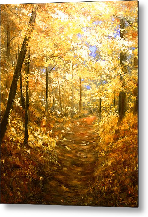 A Painting A Day Metal Print featuring the painting Lanterns Of Gold by Connie Tom