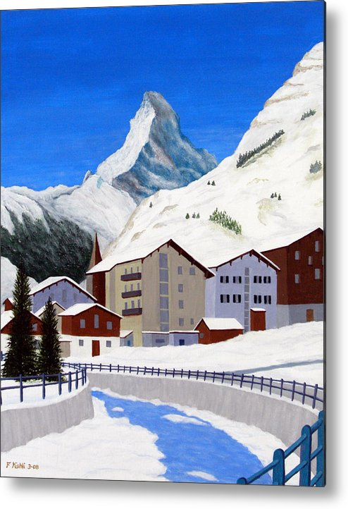 Art Metal Print featuring the painting Matterhorn-zermatt by Frederic Kohli