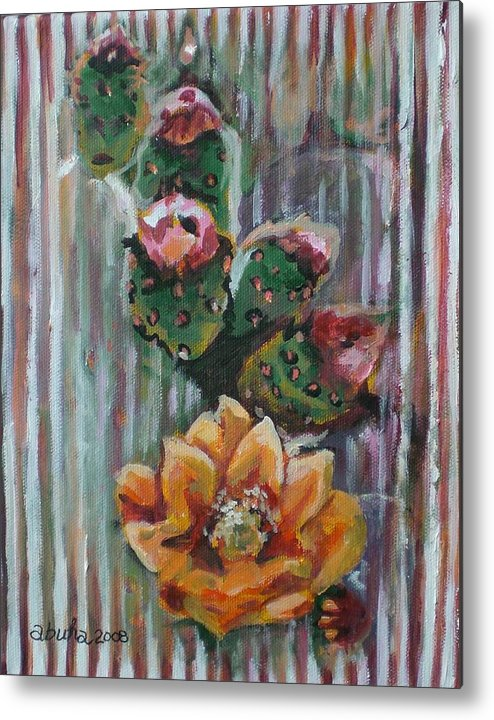 Cactus Metal Print featuring the painting Yellow Cactus Blossom by Aleksandra Buha