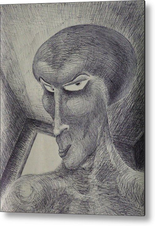 Drawing Metal Print featuring the drawing Always Watching You by Mark Sharer