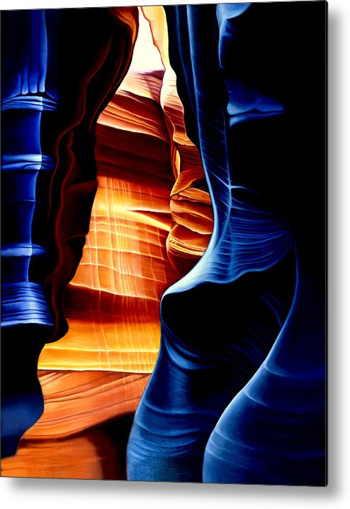 Landscape Metal Print featuring the painting Antelope Canyon by Anni Adkins