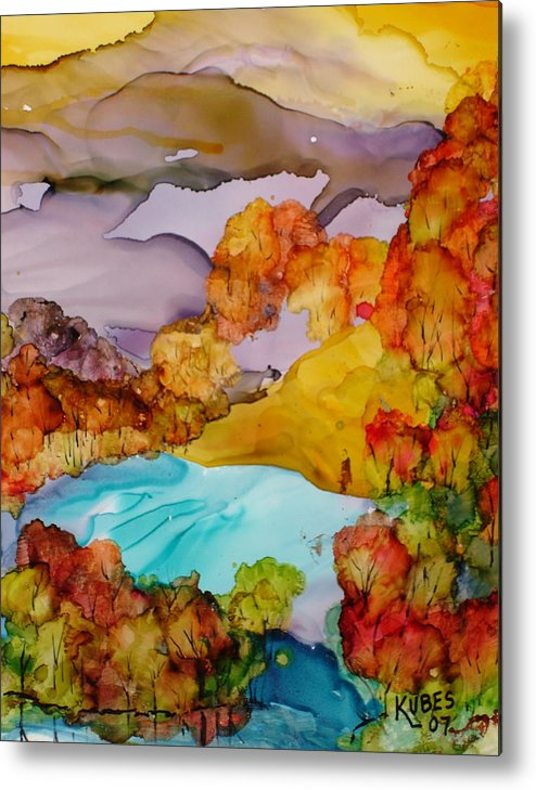 Fall Metal Print featuring the mixed media Arcadia by Susan Kubes