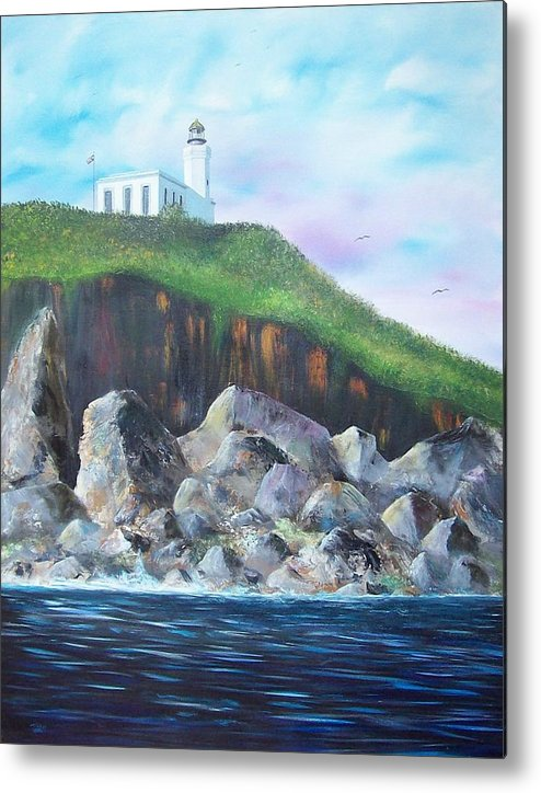 Arecibo Lighthouse Metal Print featuring the painting Arecibo Lighthouse by Tony Rodriguez