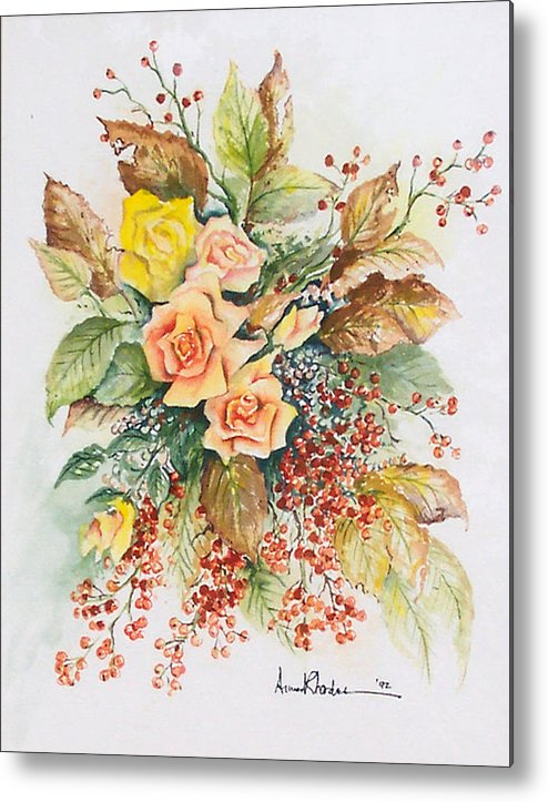 Floral Metal Print featuring the painting Arrangement In Yellow by Anne Rhodes