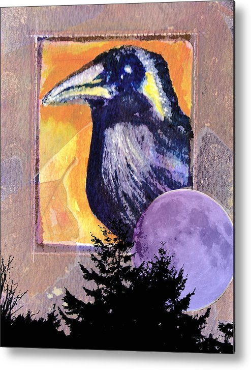 Raven Metal Print featuring the painting Autumn Spirit by Kerry Hartjen