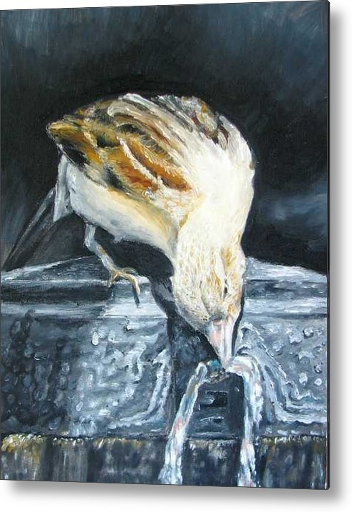 Oil Painting On Canvas Metal Print featuring the painting Bird Original Oil Painting by Natalja Picugina
