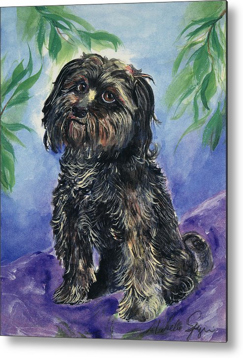 Pet Portraits Metal Print featuring the painting Black Dog by Michelle Spiziri