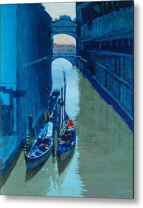 Italy Metal Print featuring the painting Blue Gondolas by Robert Bissett