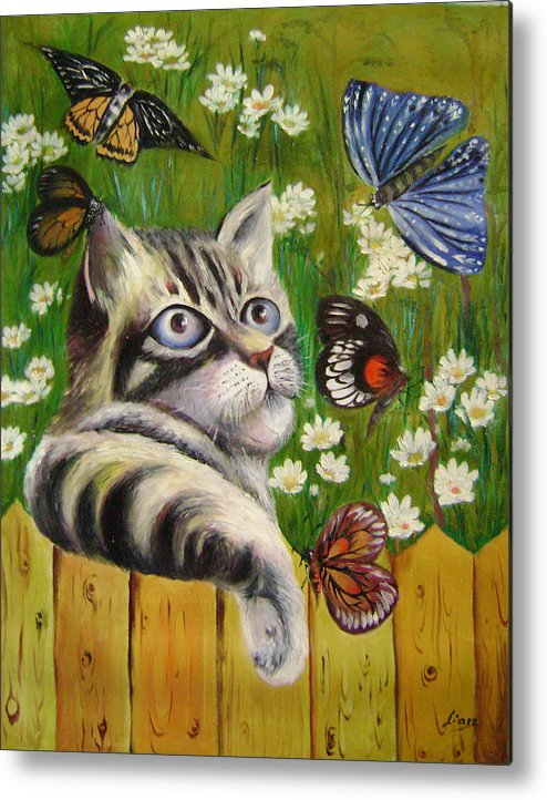 Fantasy Metal Print featuring the painting Butterfly Dream by Lian Zhen