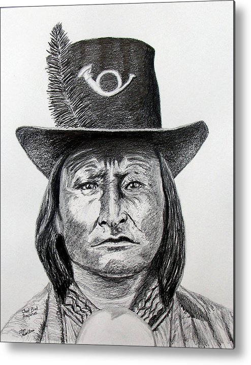 Indian Metal Print featuring the drawing Chief Bird-arapahoe by Stan Hamilton