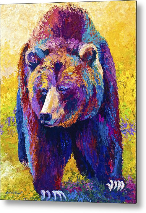 Western Metal Print featuring the painting Close Encounter - Grizzly Bear by Marion Rose