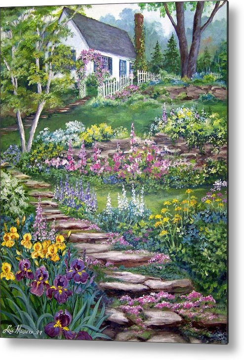 Landscape;cottage;white House;picket Fence;birch Tree;gardens;iris;stone Walk;rock Path;archway; Metal Print featuring the painting Cottage On The Hilltop by Lois Mountz