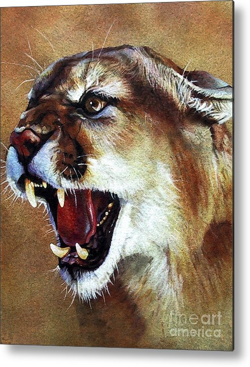 Southwest Art Metal Print featuring the painting Cougar by J W Baker